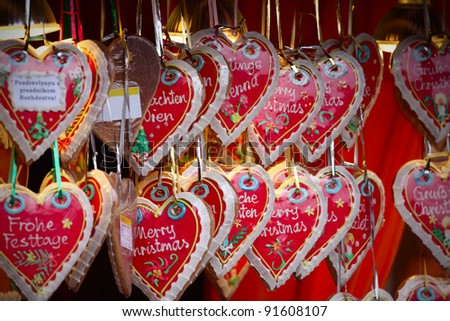 close up details of christmas markets. Cake hearts. Vienna, Austria - stock photo