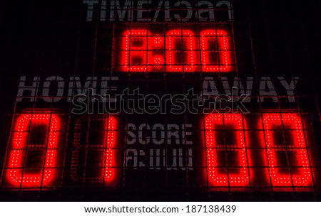 Close up digital score board