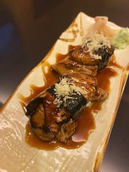 Close up dish of Foie gras sushi