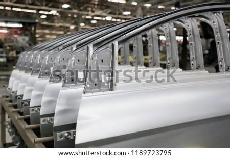 Close up door frame of car , Door frame on rack