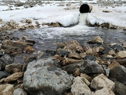 Close up drain pipe that provides storm water to a wet retention basin. Snow covers the retention basin's shore.