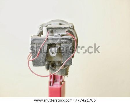 Close up dust on motor of electric fan, Maintenance electric fan #777421705