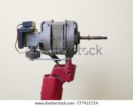 Close up dust on motor of electric fan, Maintenance electric fan #777421714