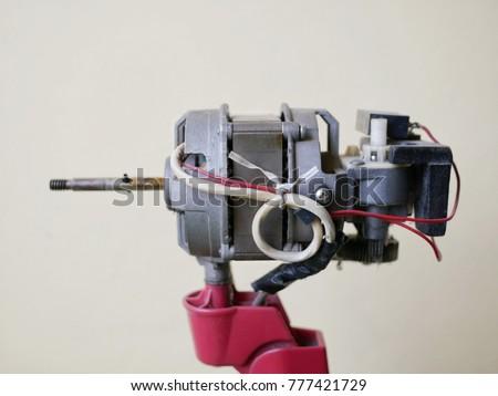 Close up dust on motor of electric fan, Maintenance electric fan #777421729