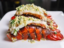 Close up easy homecook meal served several red orange color arranged aligned perfectly cooked garlic butter lobster tails with parley baked or broiled for lunch and dinner at home