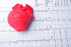 close up ECG chart with heart on it, medicine concept, health care background