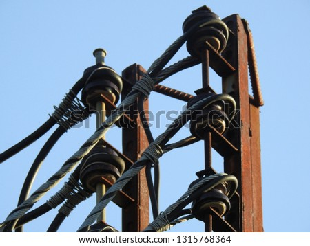 Close up Electrical poles of high voltage,Electric transformer on electric pole,electric pole power lines and wires #1315768364