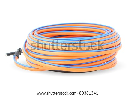 close-up , electrical wires coil on white background