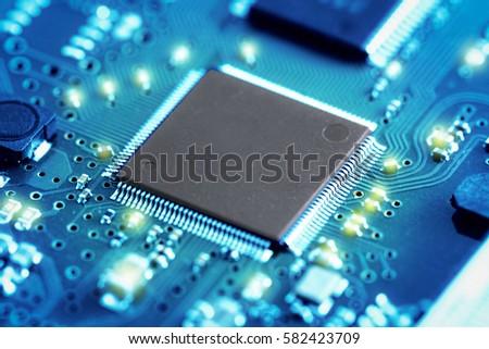 close up electronic circuit...