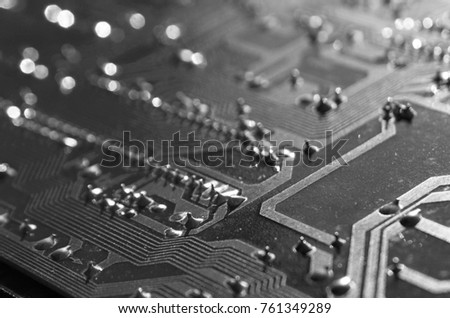 Close up electronic components, electronic boards