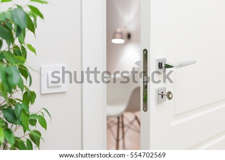 Close-up elements of the interior of the apartment. Ajar white door. Chrome door handle and lock with key. The light switch on the wall #554702569