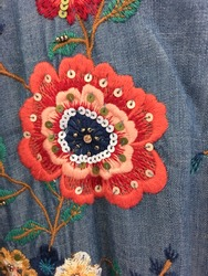Close up embroidered, flowers ,blue jeans jacket texture