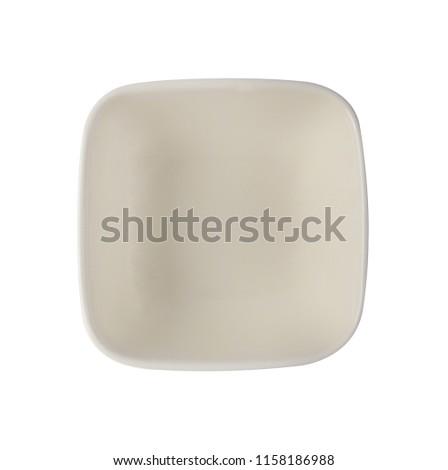close up empty  ceramic dish  isolated on white background