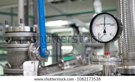 Close up equipment or pressure gage  for petrochemical plant , System technology future . Selective focus #1082173538