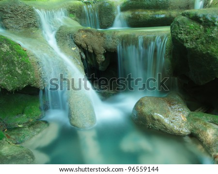 Close up Erawan waterfall Nation Park in Kanjanaburi Thailand