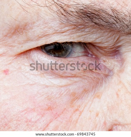 close up eye of an old woman