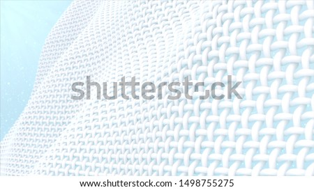 Close up fabric fiber, fiber with smooth surface, 3d rendering