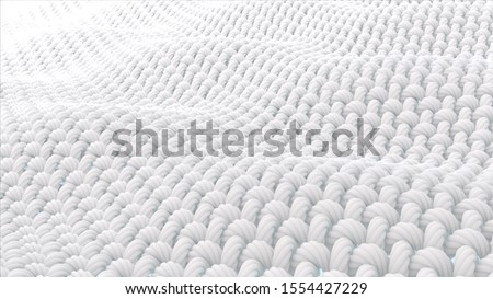 Close up fabric fiber in underwater. fiber with spiral surface. and the Surface is a waves. 3d rendering.