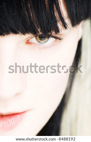 close up face of a young woman