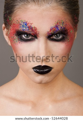 extreme make up. woman with extreme make-