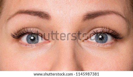 Close-up face of beautiful young woman with beautiful grey eyes and big pretty eyelashes and eyebrows. Macro of human eye - open expressive look.