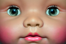 Close up face of doll girl toy