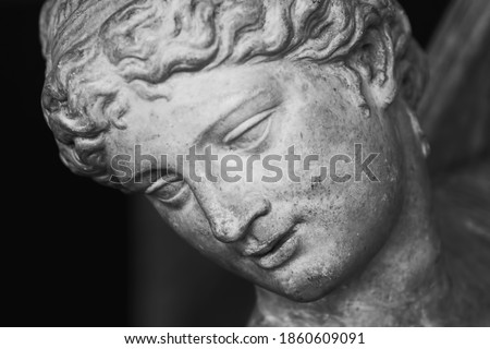 Close up face of Olympic goddess of love and beauty Aphrodite (Venus). Fragment of ancient statue.  Foto d'archivio ©