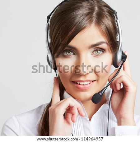 Close Up Face Portrait of smiling  business woman with head set, isolated. - stock photo