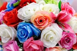 close-up fake flowers