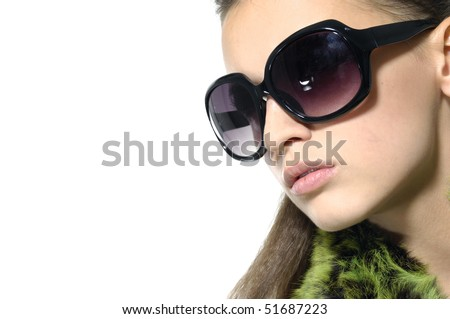 Close up fashion model wearing sunglasses