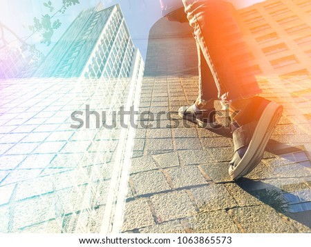 Close up feet step up toward business success for future, growth promotion career path concept