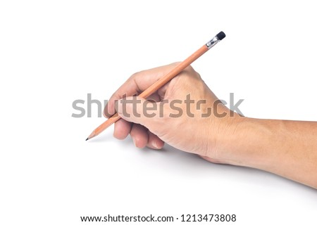 Close-up Female hand writing with a pencil, brown wooden pencil in hand, isolated on white background with clipping path