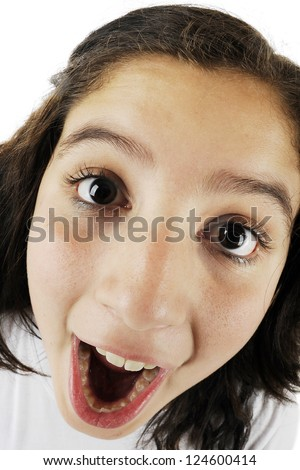 Close-up, fish-eye view of an opened-mouth young teen girl.