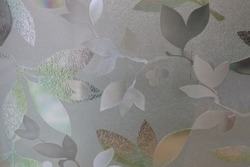 Close-up flower picture of decorative window film for attach on glass surface which blur background.using as background or wallpaper