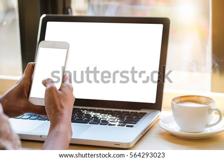 close up focus manager man hand work on blank laptop notebook portable device:employee type on keyboard for responsible assign job:empty screen display for design advertise or show your creative idea. #564293023