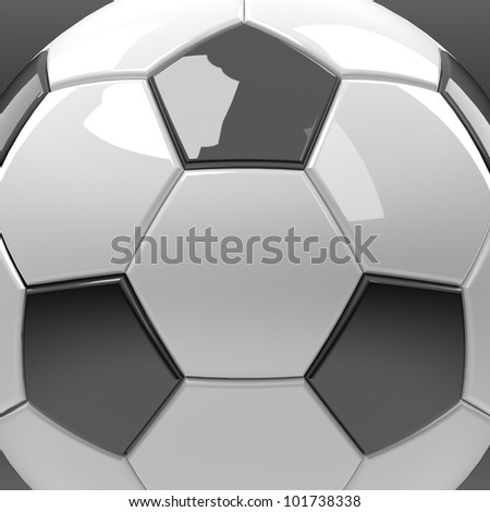 Close up football or soccer in 3D Graphic isolate