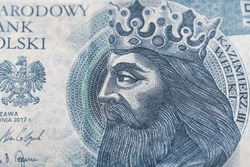 Close-up for Casimir III the Great at 50 PLN. Kazimierz III Wielki King of Poland - portrait from money. 50 Polish zloty.
