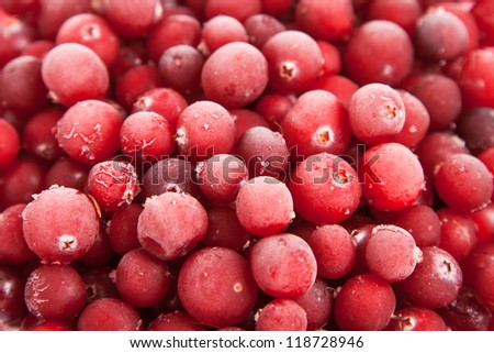 close up fresh frozen red cranberry