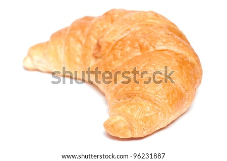 Close-up from a croissant with white background