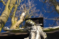 Close-up from below of a statue of Christ among the branches of a horse chestnut. Selective focus on the face of Christ, blurred background.
