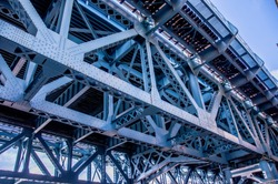 Close up from underneath of the Benjamin Franklin railway Bridge in Philadelphia showing the lattice work and structural steel supports