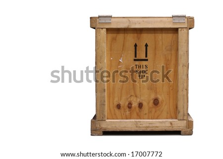 Close-up front view of a wooden crate, isolated on a white background.