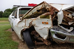 Close-up Front View of old crashed Sheriff Vehicle