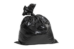 close up garbage bag on white background clipping path
