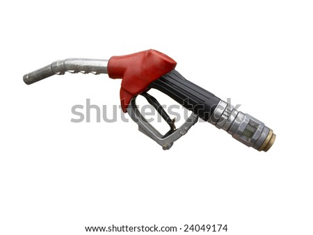 close up gas pump on white background with clipping path