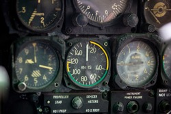 Close up gauge meter and displays in the console of aircraft cockpit. Control panel in a plane cockpit. Vintage aircraft cockpit detail