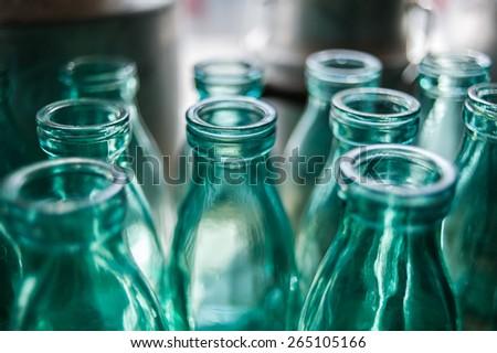 Close up glass bottle