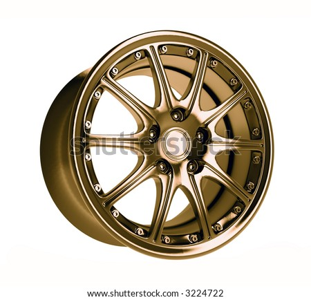 close-up golden car rim over the white background - stock photo