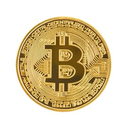Close up golden coin with bitcoin symbol isolated on white background with clipping path
