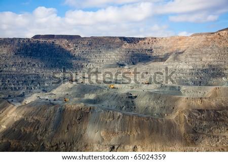 Close-up  golden  Mine Open Pit Excavation